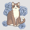 Cat with flowers icon/pixelart