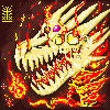 Fiery Dragon Skull icon/pixelart