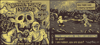 [gameboy demake] the secret of donkey kong island - title screen and swordfight