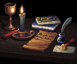 Candle-lit Study