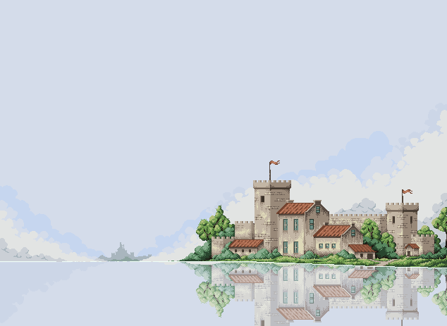 Castle by the river/pixelart