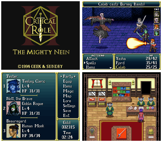 Critical Role SNES RPG