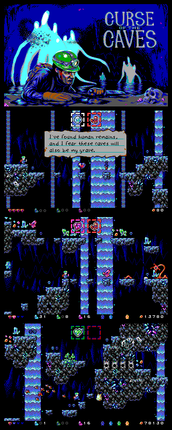 Curse of the Caves mockups