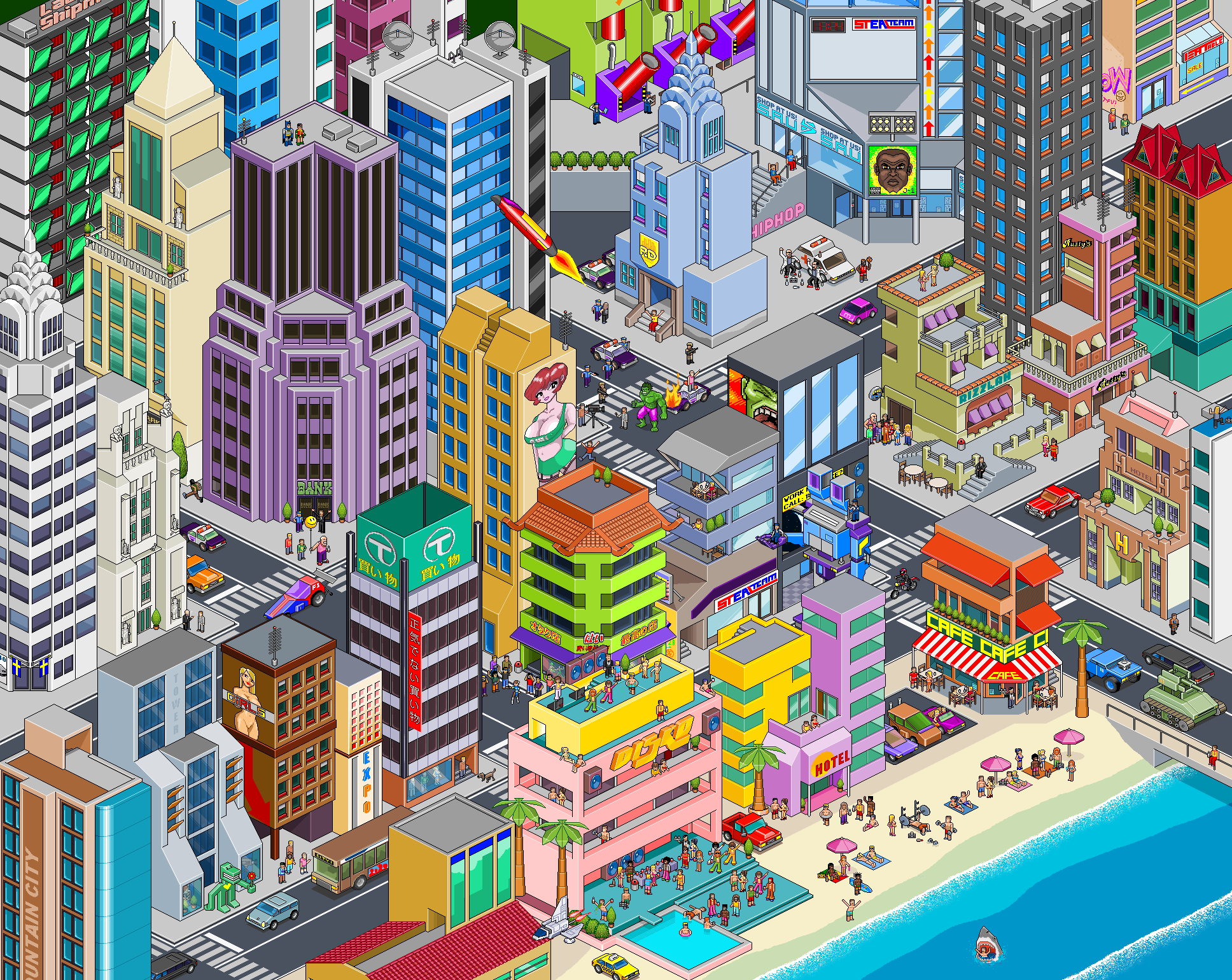 images?q=tbn:ANd9GcQh_l3eQ5xwiPy07kGEXjmjgmBKBRB7H2mRxCGhv1tFWg5c_mWT Pixel Art City @koolgadgetz.com.info