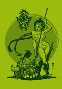 Spear Girl Pin Up Pixel Dailies