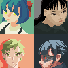 Four portraits icon/pixelart