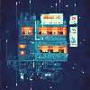 Space cafe icon/pixelart