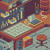 Cozy isometric workshop icon/pixelart