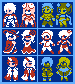 FF1 NES All Classes+Anmations M/F icon/pixelart