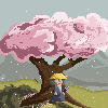 The Hill of the cherry tree icon/pixelart