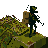 Tank with soldiers icon/pixelart