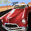 Old road, old car icon/pixelart