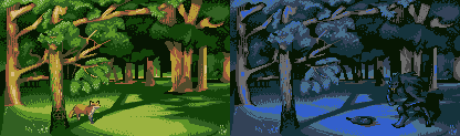 Day and night in a forest