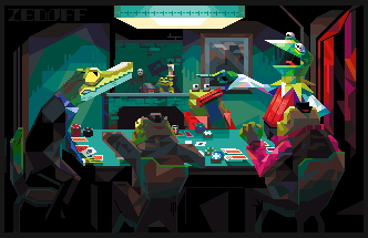 D... Frogs playing poker, and a crocodile/pixelart