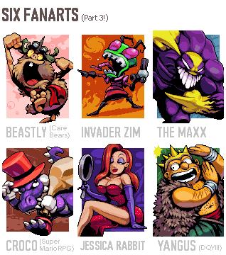 Six Fanarts Challenge - pack 3/pixelart