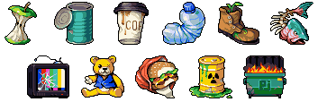 Waste rank icons/pixelart
