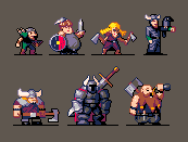 Viking Characters in the pico 8 palette