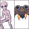 Sectoid & Floater icon/pixelart
