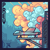 City of clouds icon/pixelart