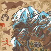 Prehistoric game map icon/pixelart
